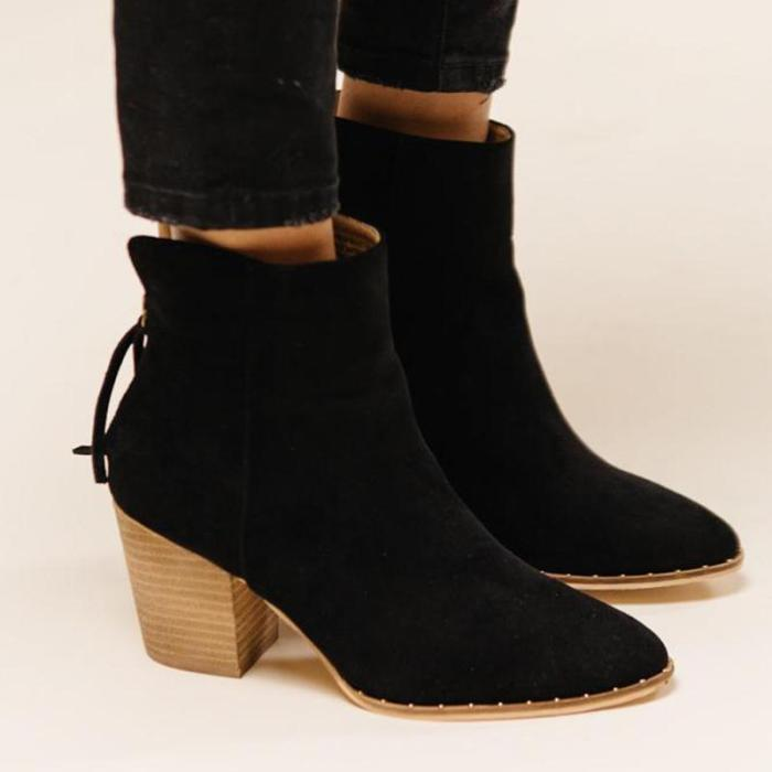 Women Pointed Toe Chunky Heel Boots