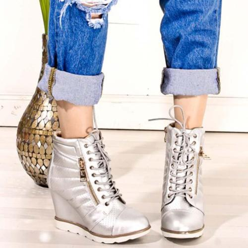 Plus Size Wedge Leather Zipper Ankle Booties