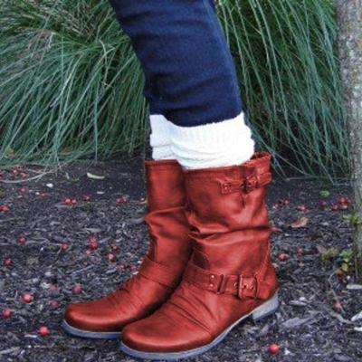 Buckle Strap Low Heel Mid Calf Artificial Leather Boots