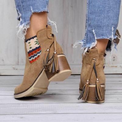 Women Ankle Boots Bohemia Side Zipper Chunky Heel Shoes