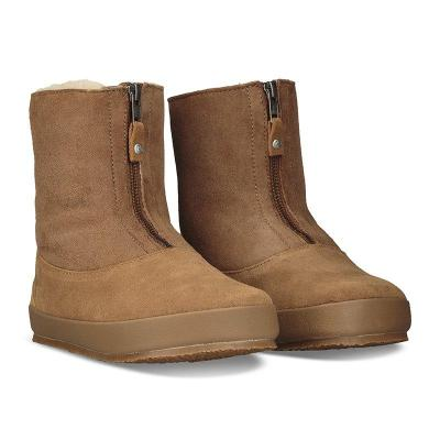 Women Round Toe Warm Snow Boots Artificial Suede Winter Flat Heel Casual Shoes