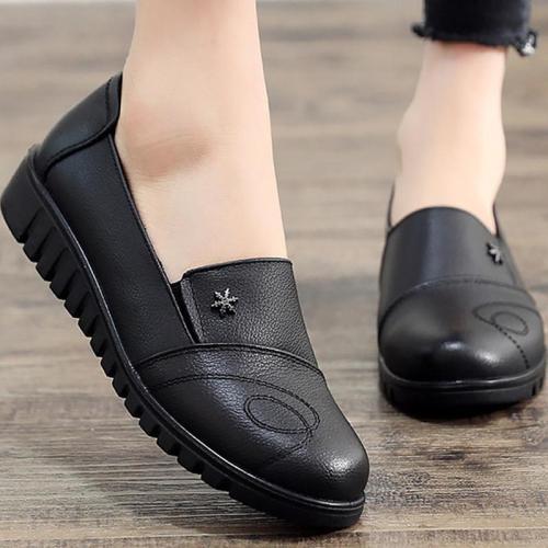 Women's shoes black shoes women flats leisure round toe ladies flats large size 41 genuine leather shoes sapato feminino