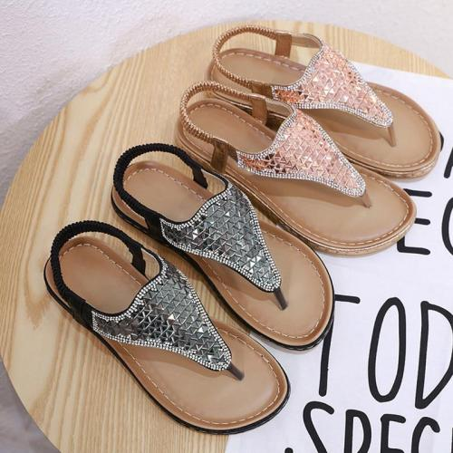 2019 Summer Women Sandals Flip Flops Bling Flat Young Ladies Beach Sandals Summer Women Shoes Sweet Soft Plus Size 42 A907