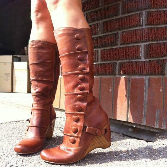 Women Winter Slip-On Vintage Button Knee-High Boots
