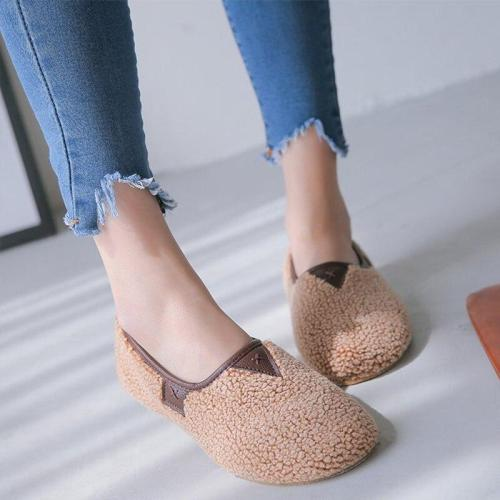 Autumn Solid Women Flats Shallow Mouth Slip on Faux Fur Female Shoes Casual Comfortable Platform Ladies Loafers Fashion 2019
