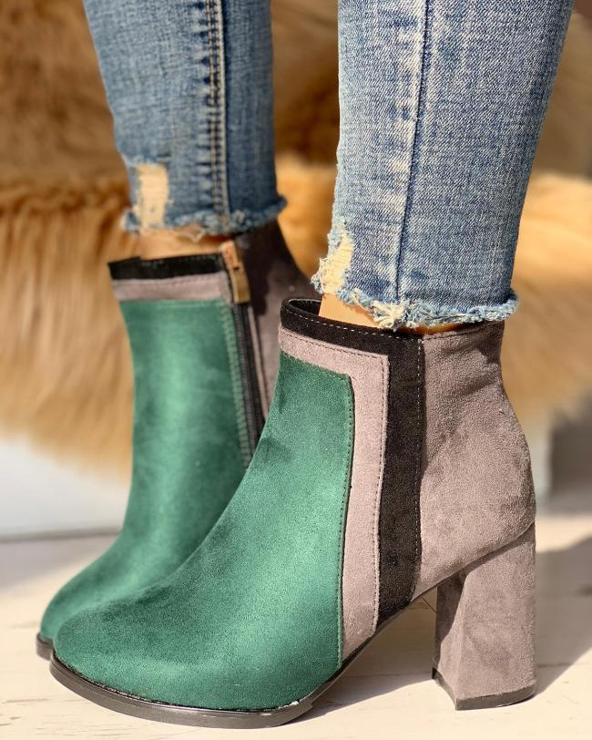 Suede Contrast Color Chunky Heeled Boots