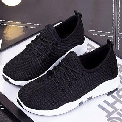 Black Lace-up Platform All Season Athletic Sneakers