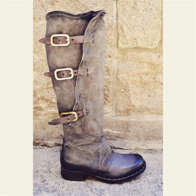 Women Vintage Low Heel Faux Leather Zipper Boots