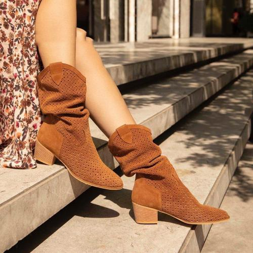 Casual Slip On Chunky Heel Suede Boots