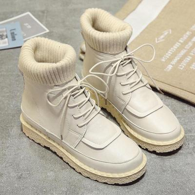 Women's Boots Gray Low Heel Casual Round Toe Lace-Up Boots