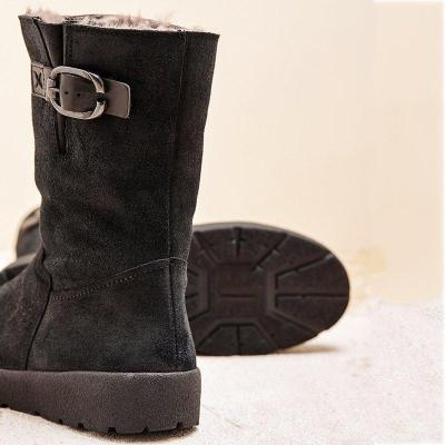 Winter Flat Heel Artificial Suede Padded Fur Lined Snow Boots