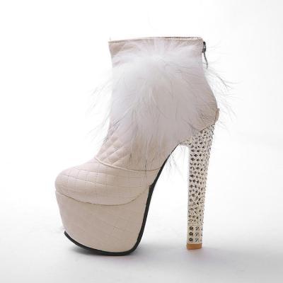 Fur Platform High Heels Short Boots Plus Size Women Shoes 2779