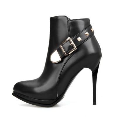 Pointed Toe Stiletto Heel Short Boots Plus Size Women Shoes 3785