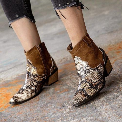 Women Casual  Low Heel Python  Ankle Boots