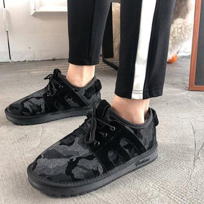 Warm Lace Up Flat Cloth Sneakers
