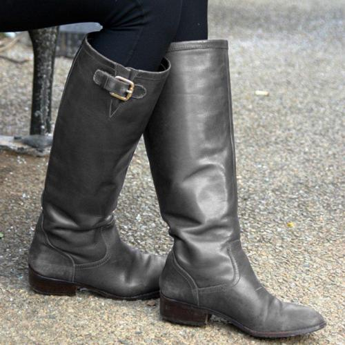 Women Casual Double-Buckle Knee-High Riding Boots