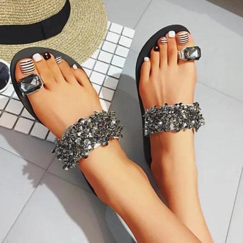 Womens Faux Rhinestone Toe Ring Flat Plus SIze Sandals