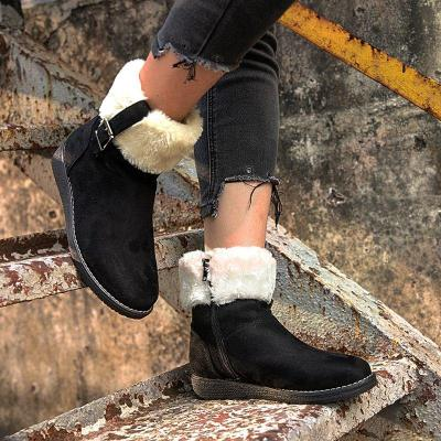 Round head women's shoes flat snow boots