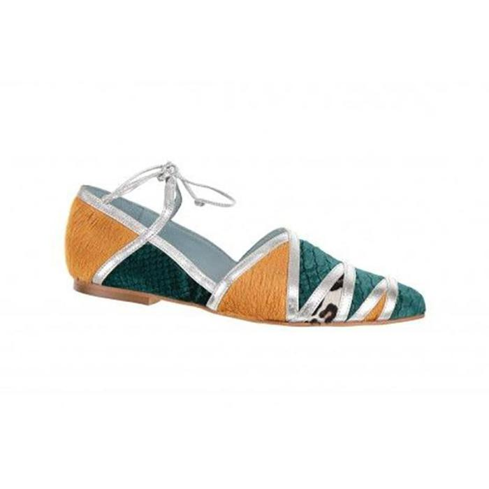 Women's Casual Color Matching Cross Strap Shallow Mouth Flat Shoes