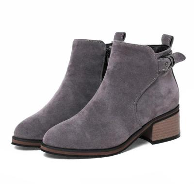 Women's Ankle Boots Autumn and Winter Thick-heeled Suede Round Head Large Size Short Boots Shoes