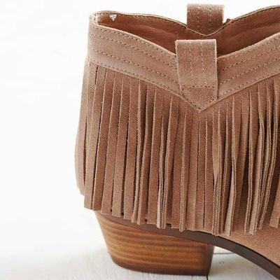 Women Comfy Suede Fringe Boot