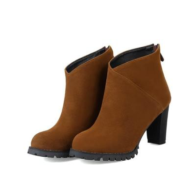 Women's Ankle Boots Zipper Low Heeled Short Boots Shoes