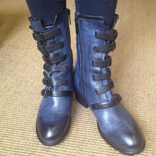 Plus Size Women Stylish Buckle Boots