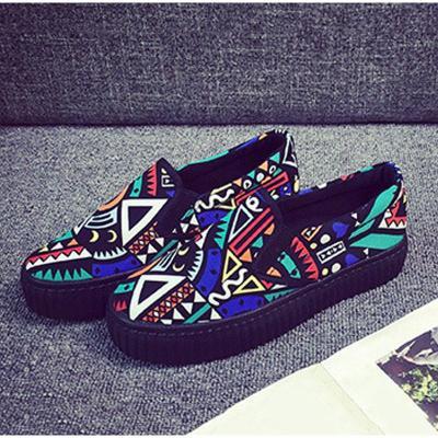 Women Graffiti Flat Platform Autumn Loafers Ladies Canvas Slip On Elastic Band Fashion Shoes Female Comfort Footwear