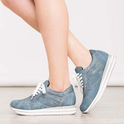Women Round Toe Flat Heel Casual Pu Lace-Up Sneakers