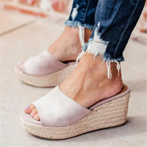 Fashion Versatile Woven Platform   Wedge Slippers