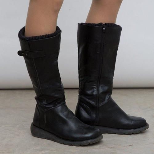 Tall Black Pu Leather Boots Round Toe Zippper Mid Calf Flat Boots