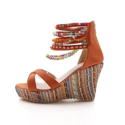 Wedge Sandals Pearls Across The Top Beading Platform Shoes