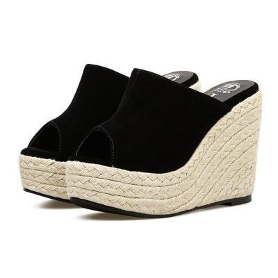 Womens Peep Toe Black Wedge Heel Casual Sandals