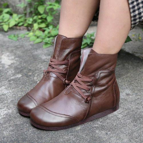 Women Casual Flat Heel Round Toe Comfy Pu Boots