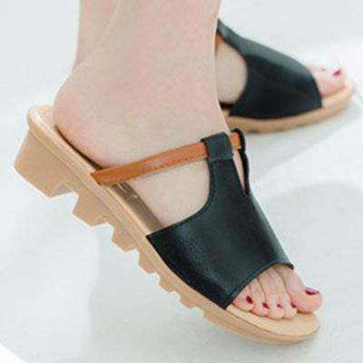 Color Block  Low Heeled  Peep Toe  Casual Slippers