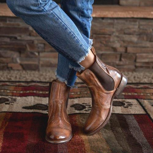Women's Vintage Low Heel Plus Size Ankle Booties Slip-on Short Chelsea Boots