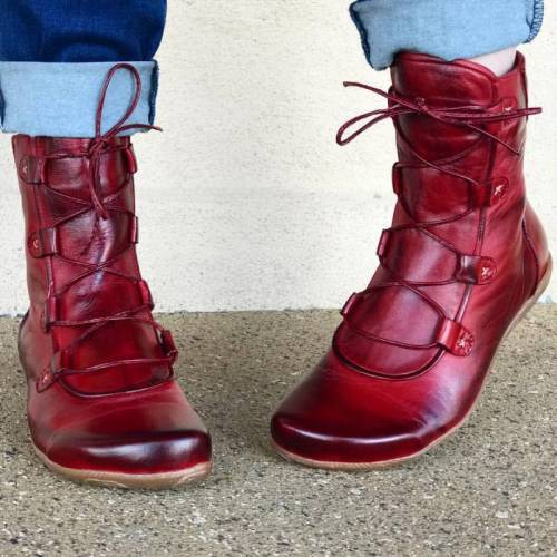 Plus Size Women Casual Pure Color Mid-calf Boots