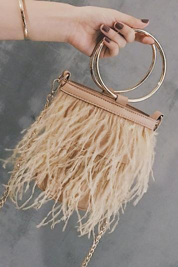Fashion Plain Mental Round Handle Chain One Shoulder Feather Bucket Hand Bag