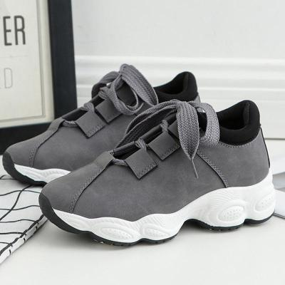 Casual shoes woman 2020 new fashion breathable lace-up PU sneakers women shoes solid wedges women sneakers zapatos de mujer