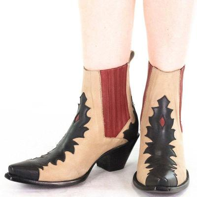 Vintage Block Heel Color Block Ankle Booties Slip-On Winter Women Boots Plus Sizes