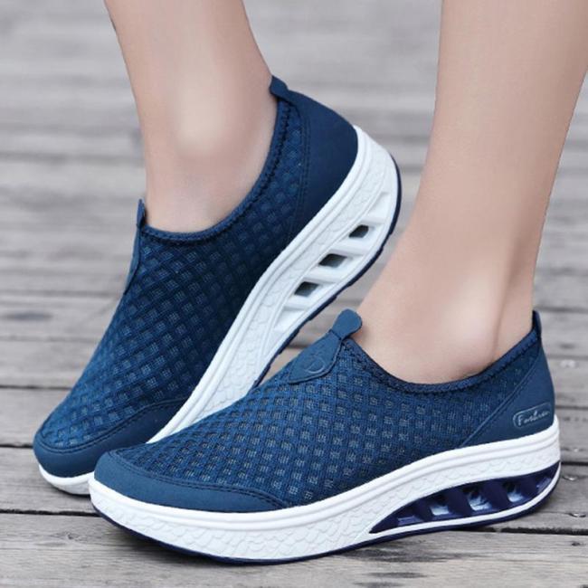 Womens Mesh Fabric Summer Flat Heel Casual Sneakers