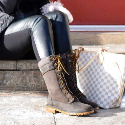 Winter Pu Flat Heel Knee Boots