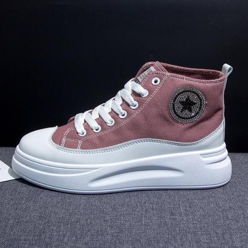 White Shoes Female New High-top Canvas Shoes Platform Height Increasing Fashion Sneakers Women Casual Flats Student Trainers