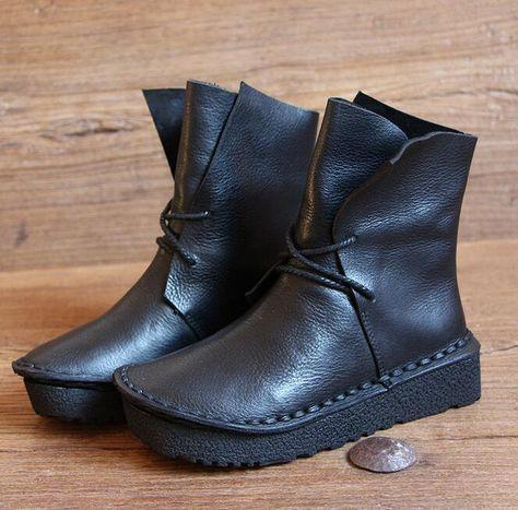 Flat Heel Casual Faux Leather Boots