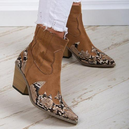 Elegant Side Zipper Pointed Toe All Season Chunky Heel Booties