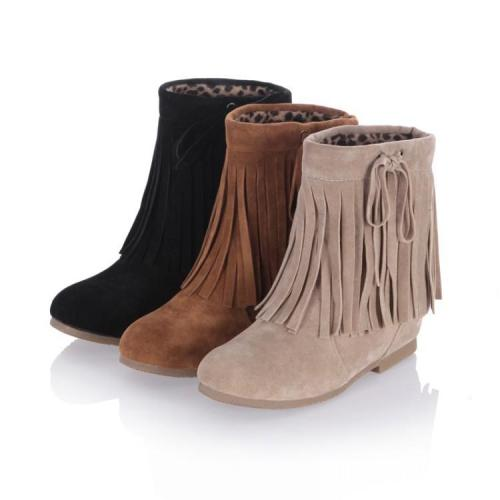 Women Knot Tassel Short Boots Plus Size Autumn and Winter Shoes 4566