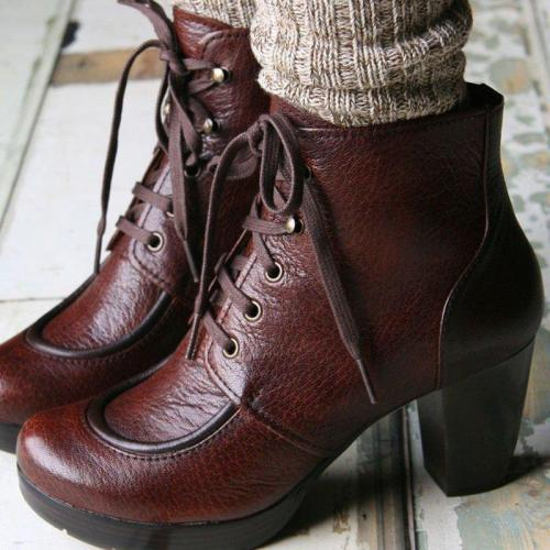 Round Toe Casual Lace Up Chunky Heel Artificial Leather Boots