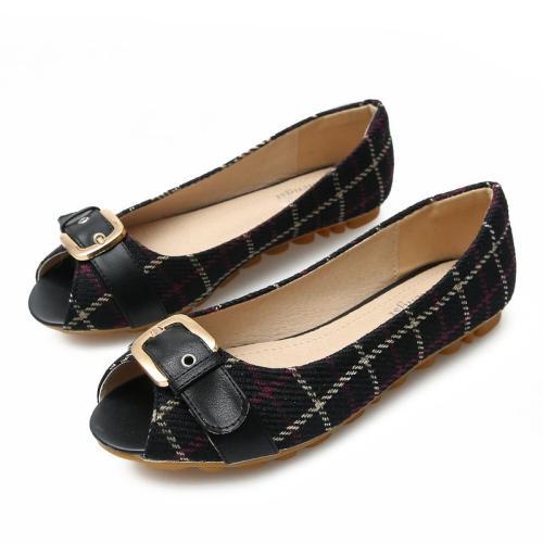 Korea Spring New Single Shoes Comfortable Pregnant Women Flat Shoes Metal Buckle Plaid Large Size Women's Shoes YX0028