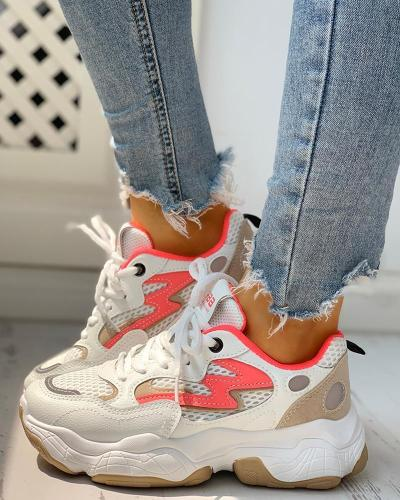 Colorblock Eyelet Lace-Up Platform Sneakers