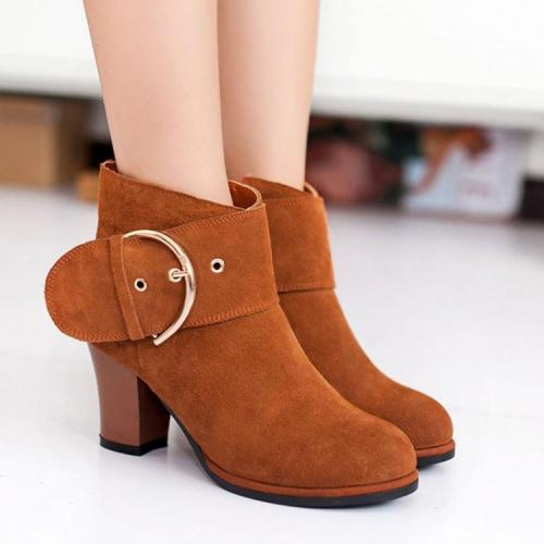 Buckle Chunky Heels Short Boots Plus Size Women Shoes 1546